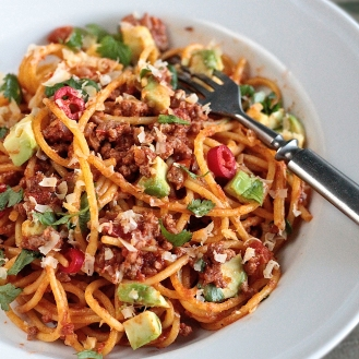 Meksikon innoittama spagetti bolognese