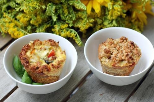 Toastmuffinssit kasvis- ja omena-kanelitäytteillä.