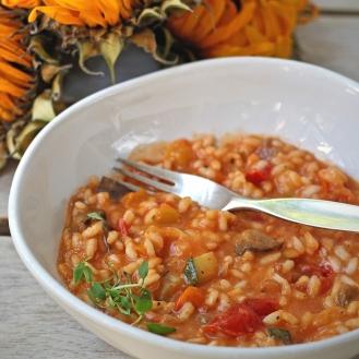Tomaattirisotto paahdetuilla kasviksilla