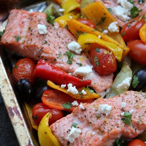 Kreikan innoittama uunikala ja kasvikset